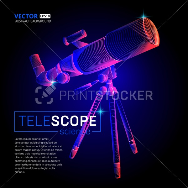 Vector standing telescope with abstract 3d geometry lines and gradient waves art wireframe illustration or future space astronomy science cosmos planet exploration concept design on dark background - PrintStocker.com