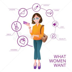 What women want. Vector infographics with pretty woman and speech bubbles around her with icons consisting of woman's wishes - PrintStocker.com