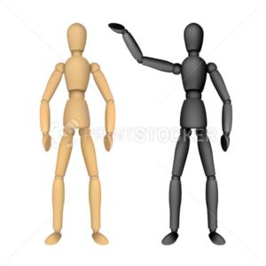 Wooden female or male manikin for drawing with different poses - PrintStocker.com