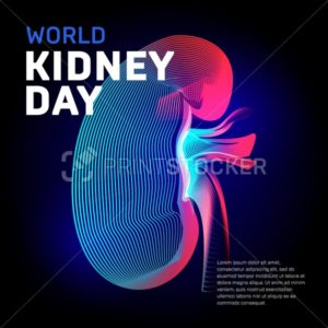 World kidney day health vector bean human organ silhouette contour in abstract 3d geometry lines texture and outline gradient waves vintage modern trendy graphic design illustration on dark background - PrintStocker.com