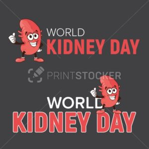 World kidney day vector cartoon human body health organ smiling mascot character illustration isolated on dark background Perfect to use for medical awareness poster design or company logo template - PrintStocker.com
