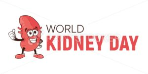 World kidney day vector cartoon human body health organ smiling mascot character illustration isolated on white background Perfect to use for medical awareness poster design or company logo template - PrintStocker.com
