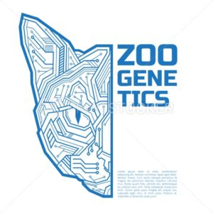 Zoo genetics logo. A half of a cat or kitten head consisting of microelectronic circuits and dots - PrintStocker.com