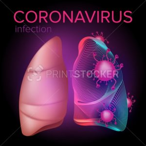 Coronavirus 2019-nCoV infection from Middle East attack the human lungs. Vector illustration of the respiratory syndrome from China. Health and medical design concept - PrintStocker.com