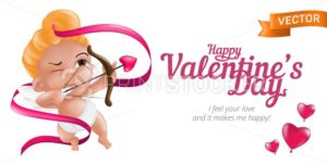 Happy Valentine's Day web banner or flyer with baby cupid and bow, pink ribbon and 3D hearts. Vector illustration isolated on white background. Can be used for February 14 Day of love holiday design - PrintStocker.com
