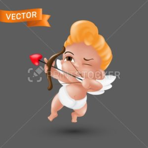 Little baby cupid angel in a diaper with a bow and arrow heart-shaped tip. Flying Amur mascot to Happy Saint Valentine's day graphic design. Funny vector character illustration on a dark background - PrintStocker.com