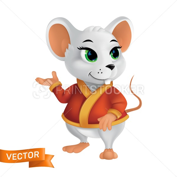 White rat or mouse in red bathrobe or cape with golden elements. Funny 3D style vector character symbol of the year in the Chinese zodiac or New Year 2020 asian calendar isolated on white background - PrintStocker.com