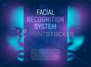 Facial recognition system concept with 3D realistic human or cyber face consisting of low polygons and lines. Vector illustration of biometric identification technology and artificial intelligence - PrintStocker.com