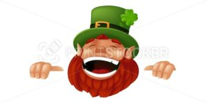 Funny cartoon Leprechaun character laughing and holding sign to Happy Saint Patrick's Day celebration. Vector illustration with hiding and peeking Irish dwarf mascot isolated on white background - PrintStocker.com